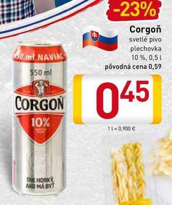 Corgoň 10% svetlé pivo 0,5 l