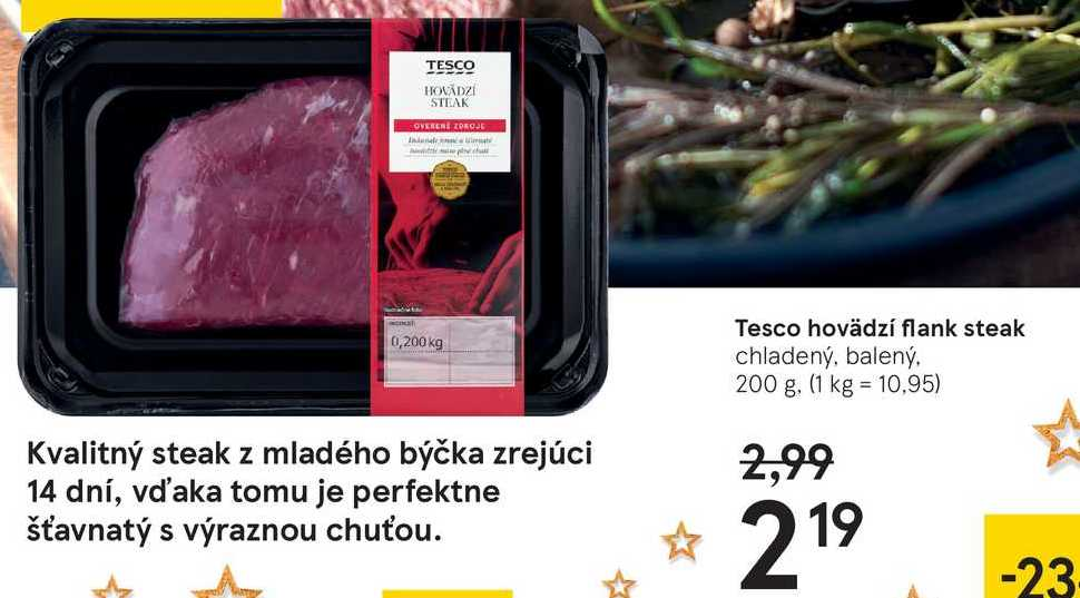 Tesco havedzí flank steak, 200 g