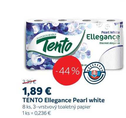 TENTO Ellegance Pearl white 8 ks, 3-vrstvový toaletný papier