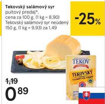 Tekovský salámový syr, 100 g