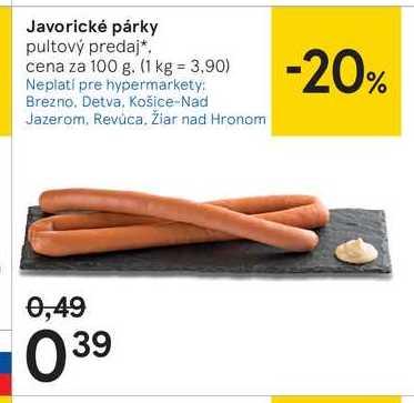 Javorické párky, 100 g