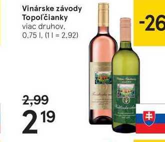 Vinárske závody Topoľčianky, 0,75 l