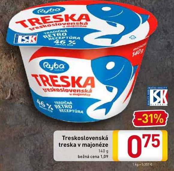 Treskoslovenská treska v majonéze 140 g