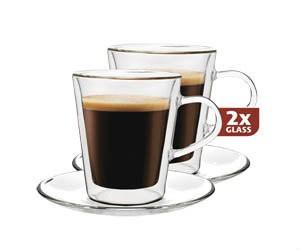 Šálka sklenená Coffe 235ml Maxxo 2ks
