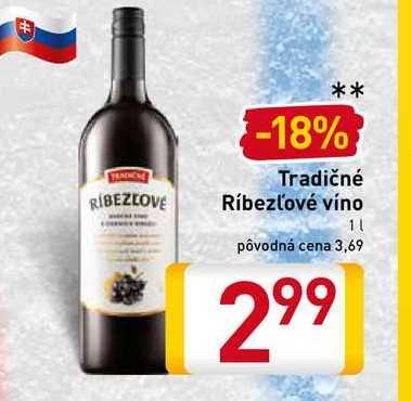 Tradičné Ríbezľové víno 1 l