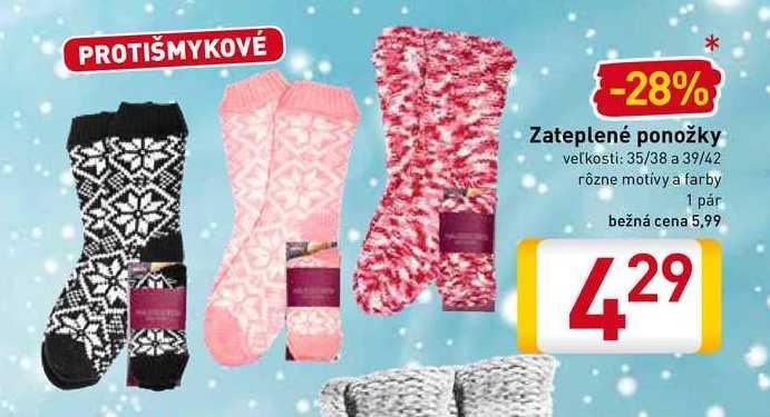 Zateplené ponožky 1 pár