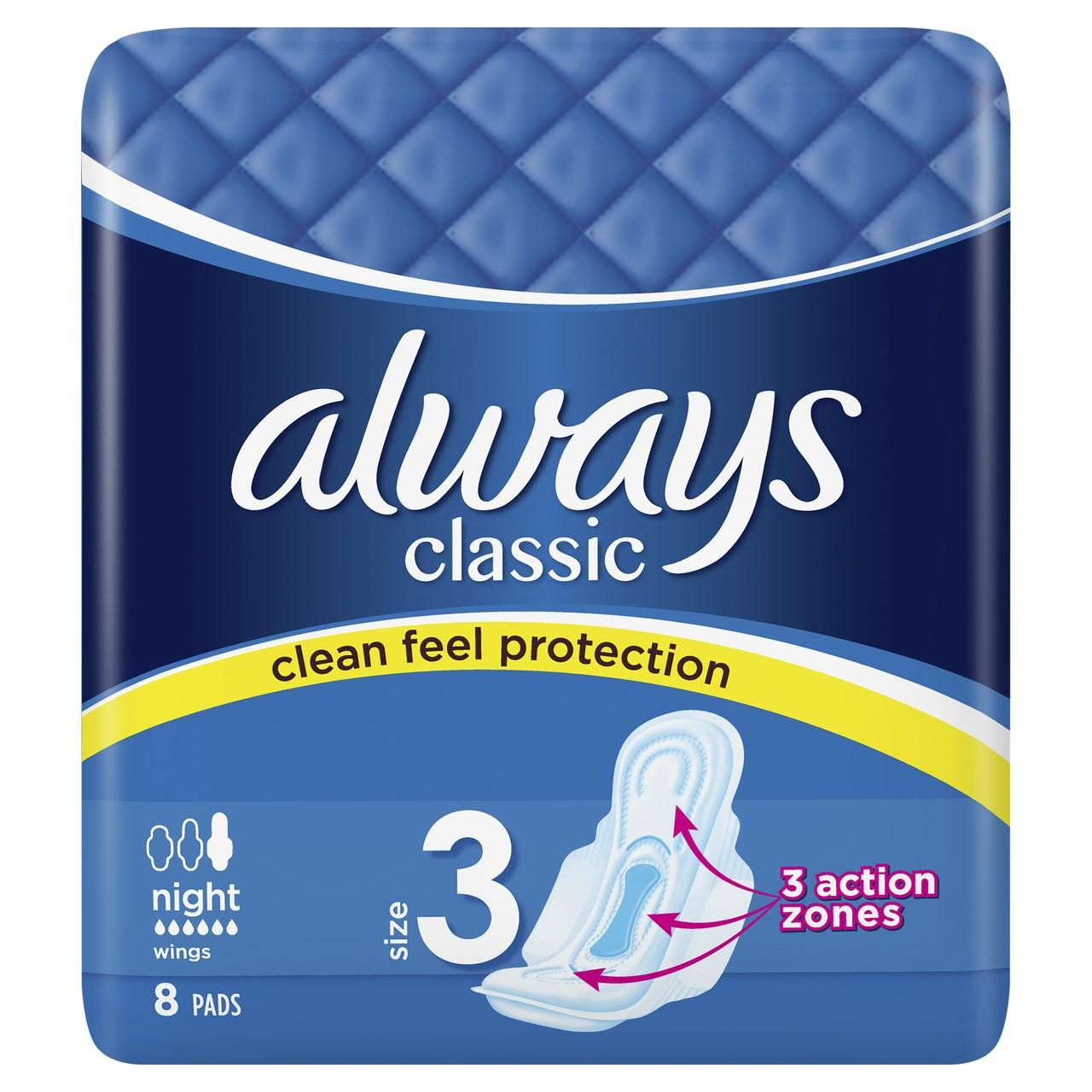Always classic night dámske vložky 2x8 ks