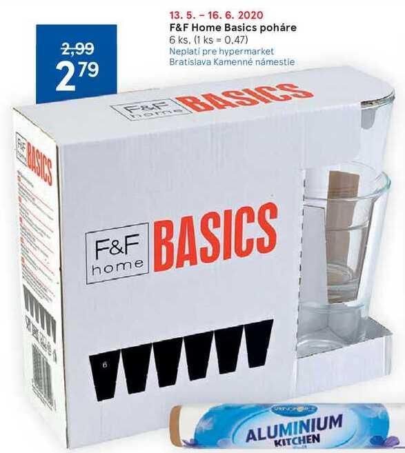 F&F Home Basics poháre, 6 ks