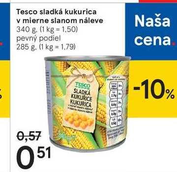 Tesco sladká kukurica v mierne slanom náleve, 340 g