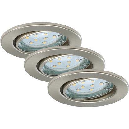 Briloner LED vstavané svietidlá 3-dielna súprava nikel matný