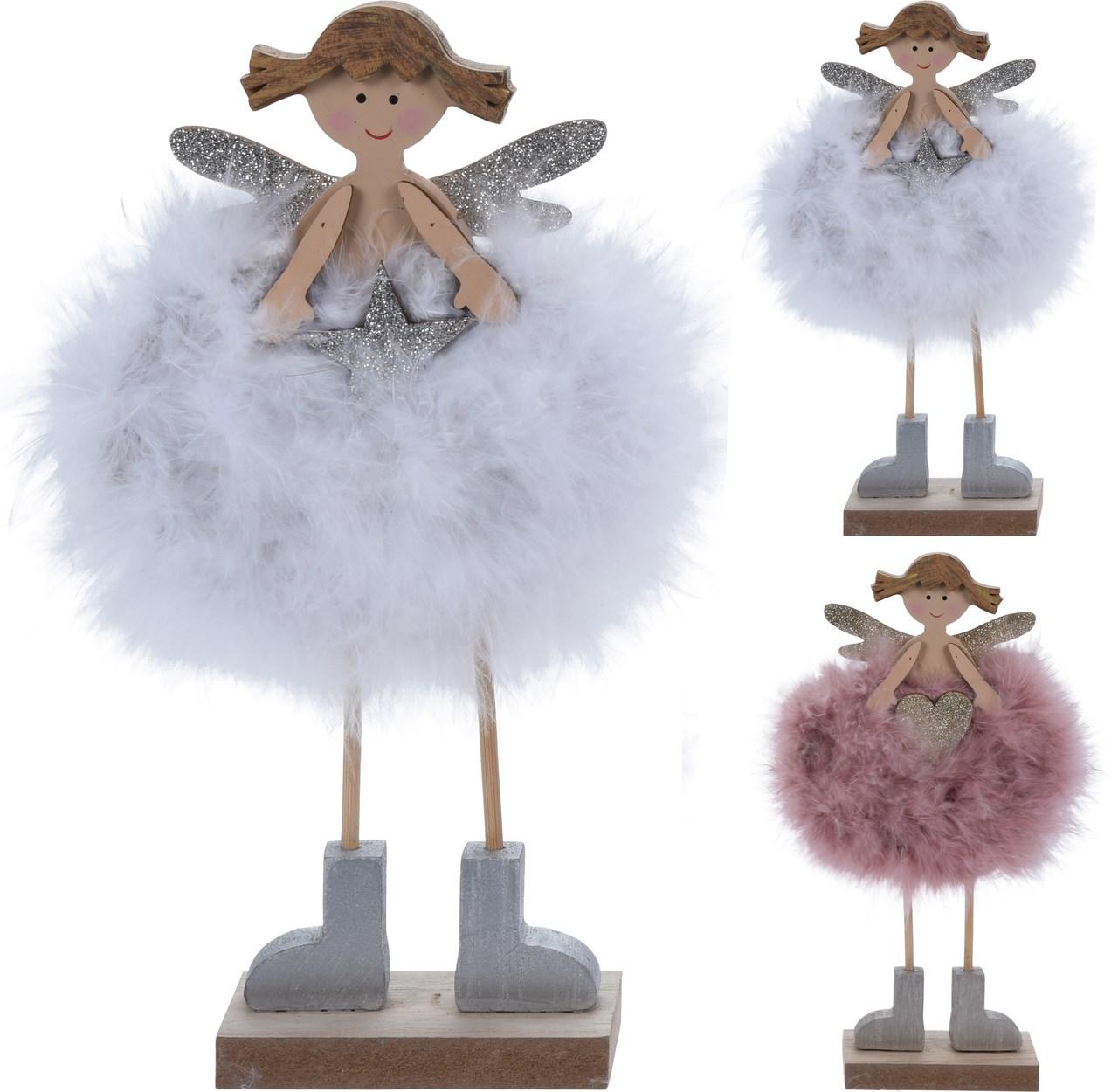 Anjel s kožušinou drevený 24 cm 1ks
