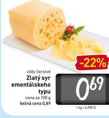 Zlatý syr ementálskeho typu 100 g