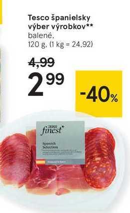 Tesco španielsky výber výrobkov, 120 g