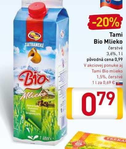 Tami  Bio mlieko 1 l