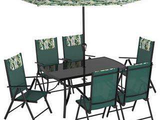 Súprava záhradného nábytku Travessa 8-dielna z hliníka zelená