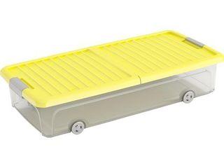 Úložný box W L plochý s vekom a 4 kolieskami žltý