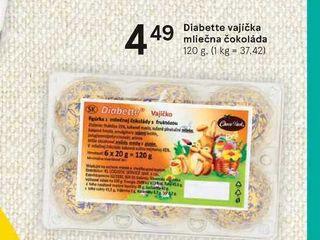Obrázok Diabette vajíčka mliečna čokoláda, 120 g