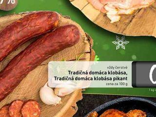 Obrázok  Tradičná domáca klobása, Tradičná domáca klobása pikant, cena za 100 g