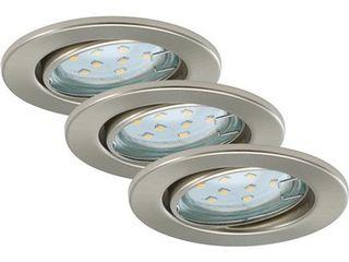 Obrázok Briloner LED vstavané svietidlá 3-dielna súprava nikel matný